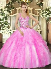 Low Price Lilac Lace Up Straps Appliques and Ruffles Sweet 16 Dress Organza Sleeveless