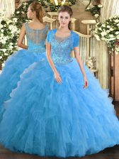 Wonderful Floor Length Aqua Blue Quinceanera Gown Tulle Sleeveless Beading and Ruffled Layers