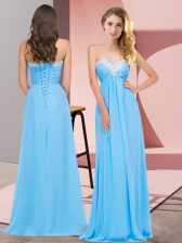 Beautiful Sleeveless Floor Length Ruching Lace Up with Aqua Blue