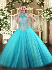 Aqua Blue Tulle Lace Up Sweet 16 Dress Sleeveless Floor Length Beading