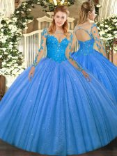 Noble Floor Length Lace Up Sweet 16 Dress Baby Blue for Military Ball and Sweet 16 and Quinceanera with Lace