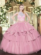Best Baby Pink Zipper Ball Gown Prom Dress Lace and Ruffled Layers Sleeveless Floor Length