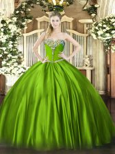 Most Popular Ball Gown Prom Dress Military Ball and Sweet 16 and Quinceanera with Beading Sweetheart Sleeveless Lace Up