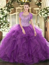 Fantastic Eggplant Purple Ball Gowns Tulle Scoop Sleeveless Beading and Ruffled Layers Floor Length Clasp Handle 15th Birthday Dress