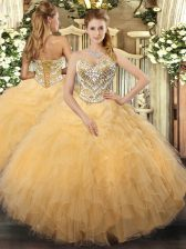 New Style Gold Sleeveless Tulle Lace Up Quinceanera Dress for Military Ball and Sweet 16 and Quinceanera
