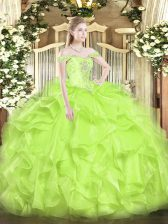 Hot Selling Yellow Green Off The Shoulder Lace Up Beading and Ruffles Ball Gown Prom Dress Sleeveless