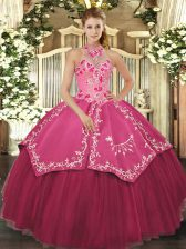 Elegant Floor Length Coral Red 15 Quinceanera Dress Satin and Tulle Sleeveless Beading and Embroidery