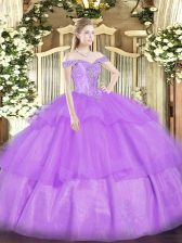 Comfortable Sleeveless Organza Floor Length Lace Up 15 Quinceanera Dress in Lavender with Beading and Ruffled Layers
