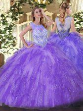 Classical Scoop Sleeveless Zipper Quince Ball Gowns Lavender Organza