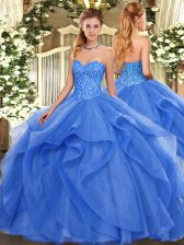Edgy Blue Ball Gowns Beading and Ruffles 15 Quinceanera Dress Lace Up Tulle Sleeveless Floor Length