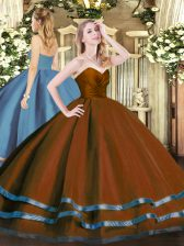 Sweetheart Sleeveless Tulle Quince Ball Gowns Ruffled Layers Zipper