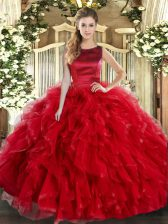 Dynamic Red Ball Gowns Scoop Sleeveless Tulle Floor Length Lace Up Ruffles 15th Birthday Dress