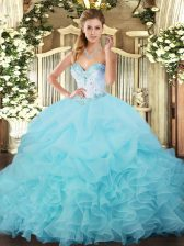Vintage Sleeveless Floor Length Beading and Ruffles and Pick Ups Lace Up Quinceanera Dress with Aqua Blue