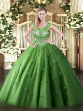 Sleeveless Floor Length Beading and Appliques Lace Up 15 Quinceanera Dress with Green
