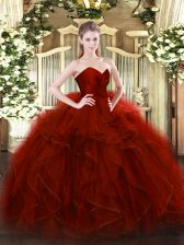 Wine Red Ball Gowns Sweetheart Sleeveless Tulle Floor Length Zipper Ruffles Vestidos de Quinceanera