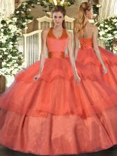 Extravagant Floor Length Orange Red Quince Ball Gowns Halter Top Sleeveless Lace Up