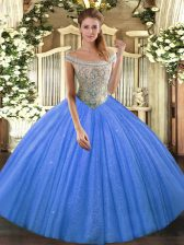 Colorful Off The Shoulder Sleeveless Tulle and Sequined Vestidos de Quinceanera Beading Lace Up