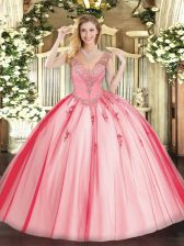 Floor Length Coral Red Ball Gown Prom Dress V-neck Sleeveless Lace Up