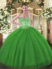 Exquisite Tulle and Sequined Sweetheart Sleeveless Lace Up Beading 15 Quinceanera Dress in Green