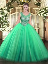 Pretty Tulle Scoop Sleeveless Lace Up Beading 15th Birthday Dress in Turquoise