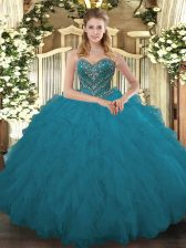 Sweetheart Sleeveless Lace Up Sweet 16 Quinceanera Dress Teal Tulle