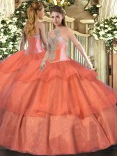 Coral Red Tulle Lace Up 15 Quinceanera Dress Sleeveless Floor Length Beading and Ruffled Layers