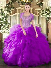 Edgy Beading and Ruffled Layers 15 Quinceanera Dress Fuchsia Clasp Handle Sleeveless Floor Length