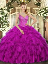 V-neck Sleeveless Organza Sweet 16 Dresses Beading and Ruffles Lace Up