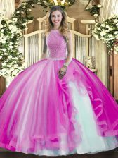 Fuchsia Ball Gowns Beading and Ruffles 15th Birthday Dress Lace Up Tulle Sleeveless Floor Length