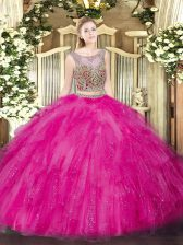 Luxury Hot Pink Scoop Neckline Beading and Ruffles Sweet 16 Quinceanera Dress Sleeveless Lace Up