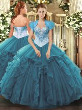 Vintage Sleeveless Beading and Ruffles Lace Up Quinceanera Gown