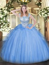 Floor Length Lace Up Sweet 16 Quinceanera Dress Blue for Sweet 16 and Quinceanera with Beading