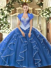 High Quality Blue Ball Gowns Sweetheart Cap Sleeves Tulle Floor Length Lace Up Beading Sweet 16 Dress