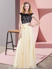 Glamorous Chiffon Sleeveless Floor Length Evening Dress and Lace and Belt