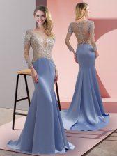Scoop 3 4 Length Sleeve Prom Party Dress Brush Train Beading Lavender Elastic Woven Satin