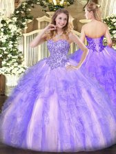 Stylish Sleeveless Appliques and Ruffles Lace Up Quinceanera Dress