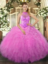 Rose Pink Organza Lace Up Halter Top Sleeveless Floor Length Ball Gown Prom Dress Beading and Ruffles