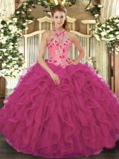 Sleeveless Floor Length Beading and Embroidery and Ruffles Lace Up Vestidos de Quinceanera with Hot Pink