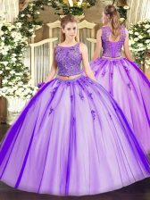Beading and Appliques Quinceanera Gowns Lavender Lace Up Sleeveless Floor Length