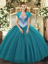 Teal Lace Up Sweetheart Beading and Sequins Sweet 16 Dress Tulle Sleeveless