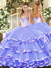Decent Sleeveless Floor Length Beading and Ruffled Layers Lace Up Ball Gown Prom Dress with Lavender
