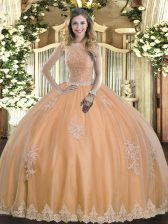 Peach Sleeveless Beading and Appliques Floor Length Quinceanera Gown