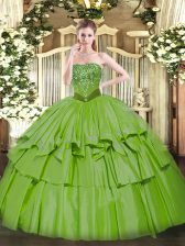 Elegant Organza and Taffeta Strapless Sleeveless Lace Up Beading and Ruffled Layers Sweet 16 Dresses in