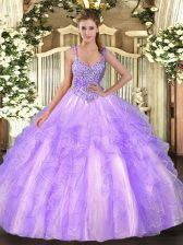 High Class Straps Sleeveless Lace Up Quinceanera Dresses Lavender Tulle