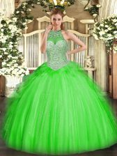 Nice Tulle Lace Up Quinceanera Dresses Sleeveless Floor Length Beading and Ruffles