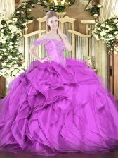 Sexy Ball Gowns Sweet 16 Quinceanera Dress Lilac Off The Shoulder Organza Sleeveless Floor Length Lace Up