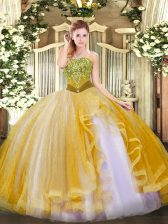 Affordable Beading and Ruffles Sweet 16 Quinceanera Dress Gold Lace Up Sleeveless Floor Length