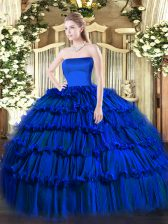 Custom Designed Royal Blue Ball Gowns Ruffled Layers Sweet 16 Dresses Zipper Organza Sleeveless Floor Length