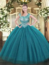 Teal Scoop Lace Up Beading Quinceanera Dresses Sleeveless