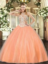 Noble Sweetheart Sleeveless Tulle Quinceanera Dress Beading Lace Up
